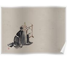 A monk wearing a mask with a horn sitting on the ground beating a drum  tsuri daiko 001 Poster
