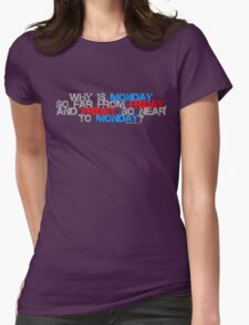 Why is Monday So far away from Friday Womens Fitted T-Shirt