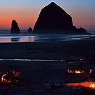 haystack rock, early spring evening by Matt Goldberg