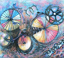 Acrylic painting, Bicycles abstract art by Marion Yeo