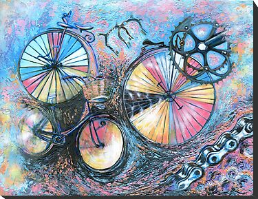 Abstract bicycles acrylic painting for sale