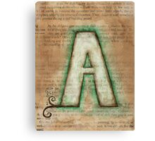 The Letter A - Watercolor Canvas Print