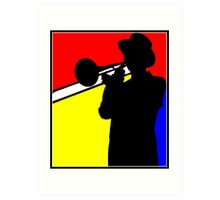 Silhouette trombone player, mondrian colours Art Print