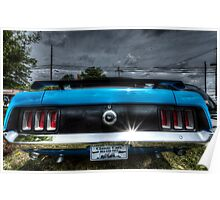 HDR - Mustang Rear under Brooding Sky Poster