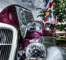 HDR - Classic Car and Flag under Stormy Sky by Doug Greenwald