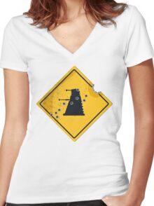 Dalek Crossing Women's Fitted V-Neck T-Shirt