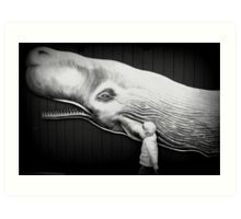 black and white with whale Art Print