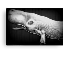 black and white with whale Canvas Print
