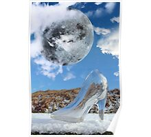 glass high heel slipper with stars and full moon at midnight Poster