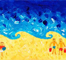 Three Boys on the Beach by Julie Nicholls