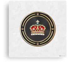 Crown of Scotland over White Leather  Canvas Print