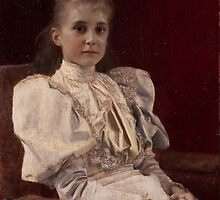 Gustav Klimt - Seated Young Girl by TilenHrovatic