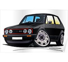 VW Golf GTi (Mk1) Black Poster