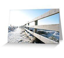 snow covered fenced path on cliff edge walk Greeting Card