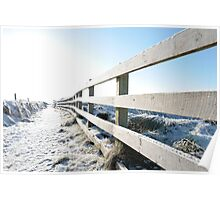 snow covered fenced path on cliff edge walk Poster
