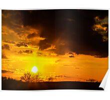 Blazing Orange Sunset Poster