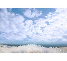 frosty snow covered grass ditch view Photographic Print