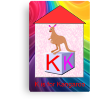 K is for Kangaroo Play Brick Canvas Print