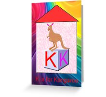 K is for Kangaroo Play Brick Greeting Card