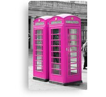Pink Telephone Box  Canvas Print