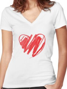 Valentines Crayon Heart Women's Fitted V-Neck T-Shirt