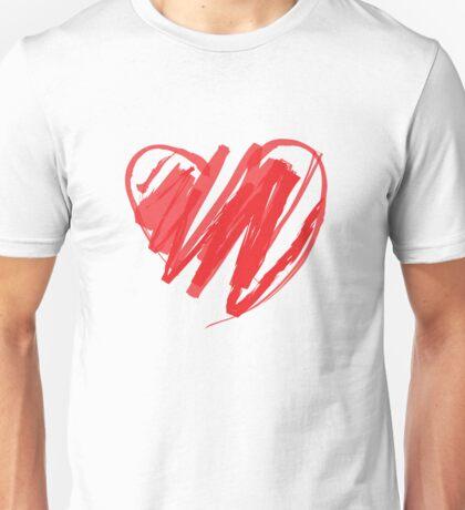 Valentines Crayon Heart Unisex T-Shirt