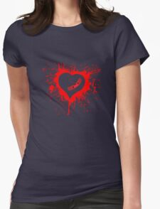 Emo Graffit Heart Valentines Womens Fitted T-Shirt