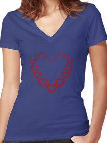 Heart Of Hearts Women's Fitted V-Neck T-Shirt