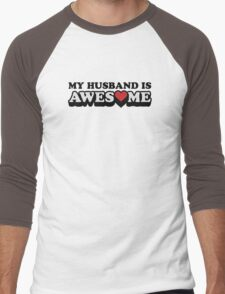 My Husband Is Awesome Valentines Men's Baseball ¾ T-Shirt