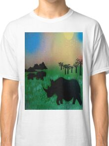 Rhinos in the sunset Classic T-Shirt