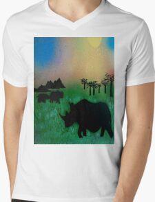 Rhinos in the sunset Mens V-Neck T-Shirt