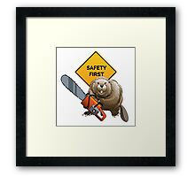 Beaver with a chainsaw Framed Print