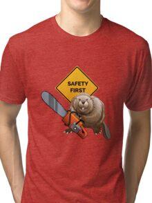 Beaver with a chainsaw Tri-blend T-Shirt