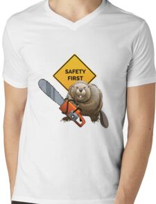Beaver with a chainsaw Mens V-Neck T-Shirt