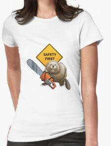 Beaver with a chainsaw Womens Fitted T-Shirt