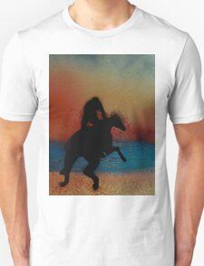 Riding along the beach at sunset Unisex T-Shirt