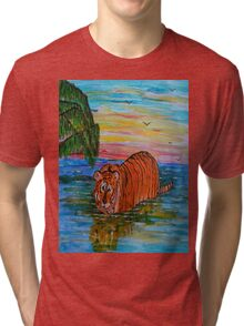 Tiger bathing at sunset Tri-blend T-Shirt