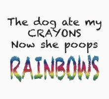 The dog ate my CRAYONS Now she poops RAINBOWS Kids Tee