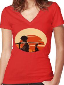 samurai Women's Fitted V-Neck T-Shirt