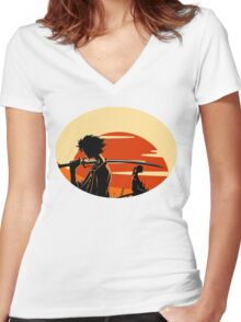 samurai Women's Fitted V-Neck T-Shirt