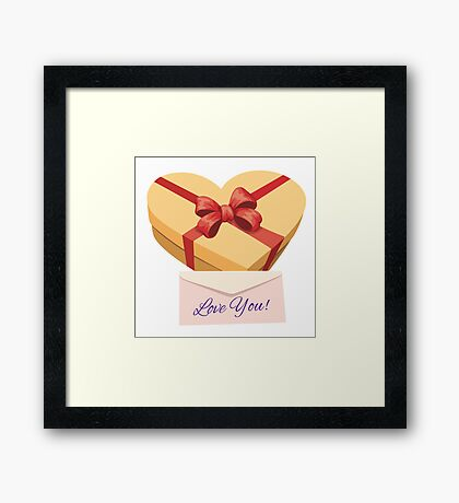 Valentine's day gift box Framed Print