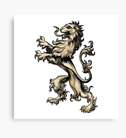 Heraldry lion drawn in engraving style Canvas Print