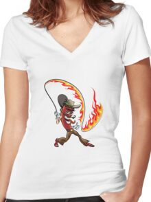 chili pepper with a lash of fire Women's Fitted V-Neck T-Shirt