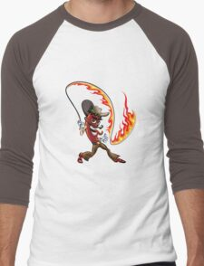 chili pepper with a lash of fire Men's Baseball ¾ T-Shirt