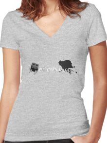 Grayscale Chest Logo Women's Fitted V-Neck T-Shirt