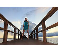 Lady on a pier Photographic Print