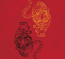 Wild Tiger Picture with Traditional Chinese Art by thejoyker1986
