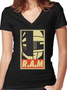 Obey R.A.M  Women's Fitted V-Neck T-Shirt