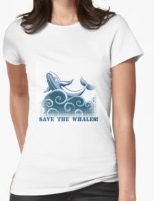 jumping whale Womens Fitted T-Shirt
