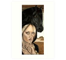 Famine Horsemen Woman in Black Cloak Black Horse Art Print